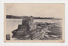 CANADA QUEBEC GRAND MÈRE WHARF AND LOGS PRINTED BY HELIOTYPE, OTTAWA, CIRCA 1930
