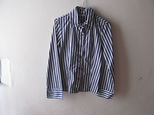 Blouse Woman Striped Vertical, Double Collar, Size M - Made IN Italy