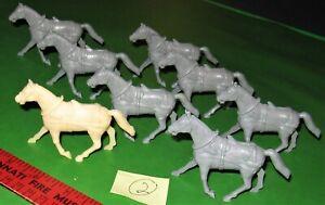 NICE LOT OF MARX GRAY...RECAST...CAISSON/WAGON HORSES..........