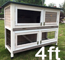 LARGE RABBIT HUTCH GUINEA PIG HUTCHES RUN 2 TIER DOUBLE DECKER CAGE GREY ROGERXL