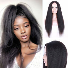 Natural Long Afro Kinky Straight Lace Front Wig Women Yaki Synthetic Wigs ,