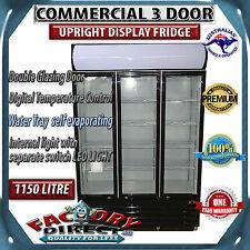 1150 LITRE Commercial 3 Door DOUBLE GLAZED DOOR Upright Display Fridge BLACK!