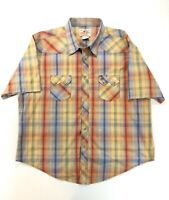Wrangler American Cowboys Mens XXL Snap Up Short Sleeve Shirt Plaid