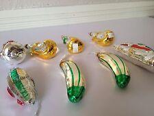 German Glass Ornaments VTG 8 Hand Blown Christmas Fruits Pickles Trees w Tag