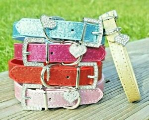Dog Collar PU Leather Puppy Jack Pug Pom Chi For XS Small Diamante Glitter Bling