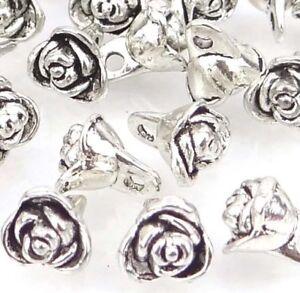 Rose Charms 5 Stück 18x12mm Metallanhänger Silber Öse Halskette Armband Charm