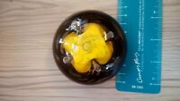 Vintage Yellow And Black Swirl Hand Blown Paperweight
