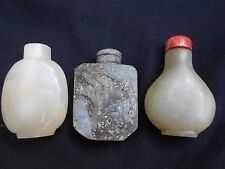 Chinese Vintage antique repro  Serpentine jade Snuff Bottles (3 pcs lot)
