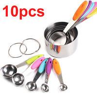10Pcs Stainless Steel Measuring Cups Spoons Set Kitchen Tool Baking Kit Teaspoon