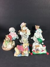 Vintage Lot Of 8 Calico Kittens By Enesco Persian, Dated Christmas, Grandma