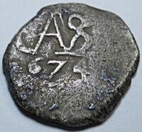 1674 Potosi Spanish Silver 1/2 Reales Piece of 8 Real Colonial Cob Treasure Coin