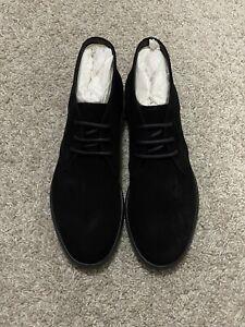 $575 Salvatore Ferragamo Dark Blue Calfskin Suede Chelsea Boots Mens US 10.5 E