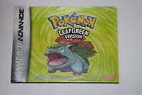 Pokemon LeafGreen Nintendo Game Boy Advance Video Game Manual Only