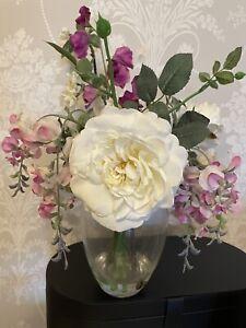 QVC peony artificial flowers Floral Arrangement Purple Pink Glass Vase Pretty