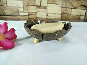 Wooden Soap Dish Holders Flower Shaped Coconut Shell Wood Handmade Bathroom