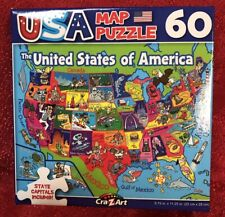 60pc Puzzle United States Of America Map Usa States Theme Included & Capitals