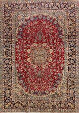 10'x14' Vintage RED/NAVY Najafabad Hand-Knotted Area Rug Floral Oriental Carpet