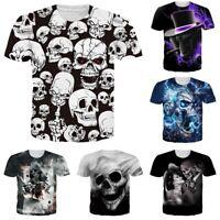 Skull 3D Print Mens Womens Casual Short Sleeve Crew Neck T Shirt Graphic Tee Top