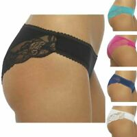 Womens Ladies 5 Pack Lace Cotton Rich Brazilian Briefs Underwear Knicker 12-18