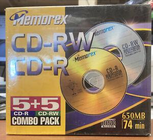 MEMOREX 5+5 Combo Pack CD-R + CD-RW 650 MB 74 MIN New Compact Disc