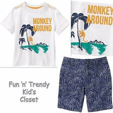 NWT Crazy 8 Boys Size 2T 3T Monkey Around Tee Shirt & Chambray Shorts 2-PC SET