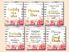 Print Yourself Peonies, Watercolor Wedding, Bridal, Baby Shower Signage sn24
