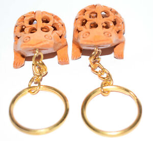 Frog Carved Forged Wooden Handcrafted Keyring Key Chain Home Decor 2 Pcs H-2555