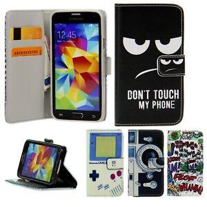Schutz Handy Hülle Flip Cover Kartenfach Case Klapp Etui mit Motiv + Schutz Glas