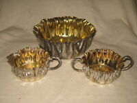 3 Piece ESCo Heavy Silverplate 24KT Gold Lined Bowls and Creamer Vintage