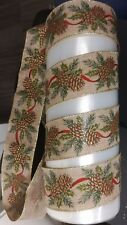Wire Edges Ribbon Fir Cone and  leaf design 63 mm wide 3 meter length