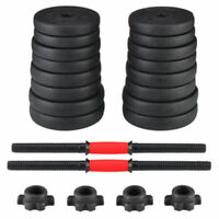 2X Weight Dumbbell 66LB Adjustable Cap Gym Barbell Plates Body Workout Training