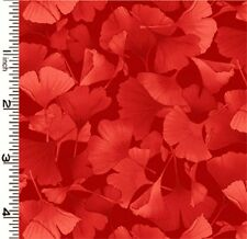 Fabric #2581, Petite Ginkgo Leaves, Red on Red, Kona Bay, Sold by 1/2 Yard