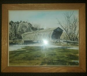 DAVIS GRAY LIMITED EDITION PRINT OF WATERCOLOR OF COVERED BRIDGE NEAR PITTSFORD