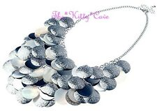 Big Ethnic Layered MOP Shell Silver Disc Waterfall Statement Bib Choker Necklace