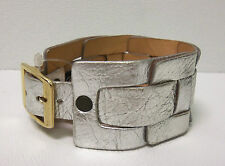 Brave Silver Leather Woven Cuff Wristband With Buckle Adjustment