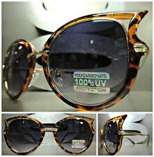 CLASSIC VINTAGE EXAGGERATED CAT EYE Style SUN GLASSES Unique Tortoise Gold Frame