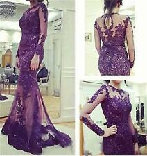Purple Lace Evening Party Bridesmaid Dress Long Sleeve Prom Wedding Pageant Gown