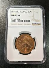 1946 MS66 RB Mexico 20 Centavos NGC UNC KM 439 Toned 2 graded higher for date!