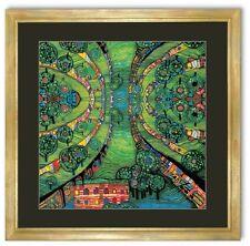 Bild Kunstdruck Hundertwasser grüne Stadt mit Blattgold Rahmen -33% SALE