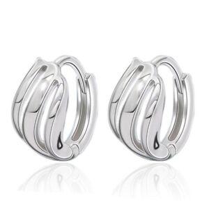 925 Solid Sterling Silver Minimalist Huggie Hoop Earrings 12 mm Diameter