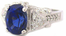 14K WHITE GOLD SAPPHIRE AND DIAMOND ANTIQUE DECO DESIGN RING 2.40CT