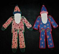 Pair of Victorian Santa Claus St Nick Felt Hanging Ornaments Christmas Decor