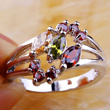 Marquise & Round Cut AAA Peridot & Morganite Garnet Gemstone Silver Ring Size 6