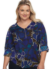 APT. 9 Women's Plus Floral Balm Blue Satin 1/4 Zip Roll-tab Sleeves Top Size 0X