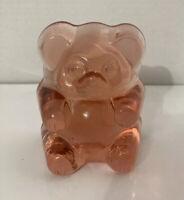 TIARA Pink Glass Teddy Bear Figurine Vintage Baby Keepsake Nursery Decor