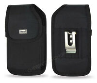 Reiko Black Vertical Heavy Duty Canvas Belt Clip Case Carrying for Samsung Phone
