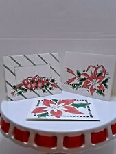 13 Christmas Note cards & Env. 3 designs poinsettia (s)  Grandma's Hatbox