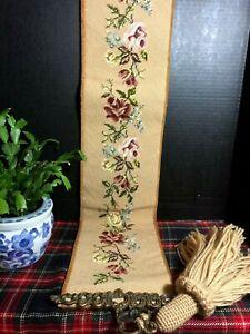 Vintage Needlepoint Bell Pull-Brass Hardware Handmade Wool Thread-Velvet Backing