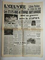 N714 La Une Du Journal L'œuvre 9 décembre 1941 les États-Unis, l'empire britanni
