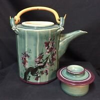 Signed Teapot w/ Lid Green Purple Floral Bamboo Handle Ceramic Pottery 13-Sided